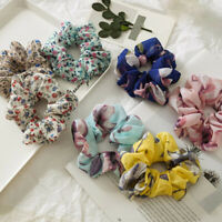 Women Chiffon Flowers Print Elastic Hair Rope Hair Ties Ponytail Scrunchies New