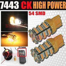 2x 7443 SRCK Socket 54-LED 3528 SMD Amber Yellow Parking Turn Signal Light Bulbs