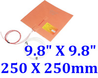 "9.8"" X 9.8"" 250 X 250mm w/ 3M w/ Thermistor 3D Printer HeatedBed Silicone Heater"