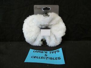 Disney Parks Adult White Sherpa Fleece Hair Scrunchie Mickey Head Icon Charm