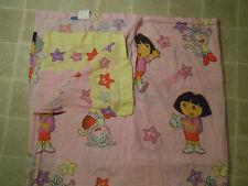 Vtg 2003 DORA THE EXPLORER Stars Twin BED SHEET Top/Flat Cartoon PINK Nick Jr