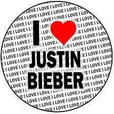 "I Love Justin Bieber - Round 8"" 20cm Icing Cake Topper Birthday Event"