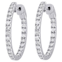 """10K White Gold Diamond In & Out Hoops Round Hinged Earrings 1.05"""" Long 2 CT."""