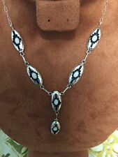 Navajo Native American White Opal Necklace & Earring Set Felix Perry Jewelry Wow