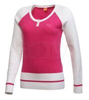 Puma Cotton Bright Cabaret Pink + White Ladies Round Neck Golf Jumper S,M,L,XL