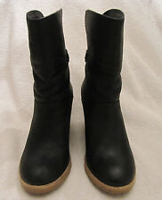 J Jill Women's Black Leather Pull On Wedge Bootie With Buckle Size 7