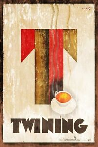 Twining Tea Advert Vintage Look Retro Style Metal Sign, cafe cuppa restaurant