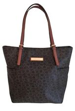 Calvin Klein CK Women's Brown Signature Monogram Carryall Tote Handbag Purse EUC