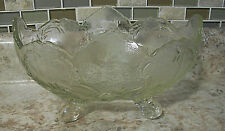 JEANETTE GLASS CO. LOMBARDI 4 SCROLL-FOOTED OVAL FRUIT BOWL CENTERPIECE ca. 1950
