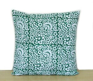 Indian Green Floral Hand Block Printed Cushion Cover New Collection Of All Size