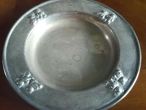 """Vintage 7"""" Silver Plate Child's Dish With Bear Design"""