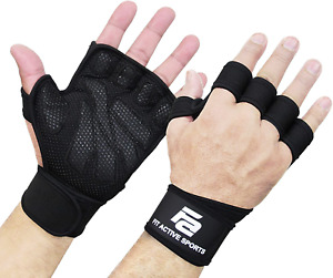 New Ventilated Weight Lifting Gloves with Built-In Wrist Wraps, Full Palm Protec