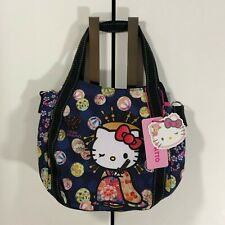F/S Hello Kitty Manufatto Japanese Kimono Oiran 2way Black Bag Kyoto Japan