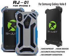 R-JUST CNC Aluminum Metal Hohl Armor Bumper Case For iPhone X Samsung Note8 S10+