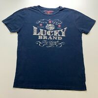Lucky Brand T-Shirt Size M Blue Retro Spellout Graphic Logo Durable Goods Mens