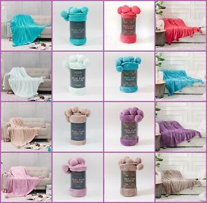Pom Pom Solid Fleece Faux Fur Throw Sofa Bed Mink Soft Warm Blanket 130 x 180 cm