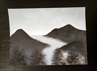 Landscape Art Acrylic Painting Woods Forest Stream River Black and White Gray