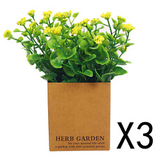 VGIA Set of 3 Artificial Flowers in Pot Fake Plants for Home Decor Small Yellow