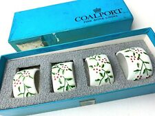 Vintage Coalport Set of 4 Fine Bone China Holly Napkin Ring Holders with  Box