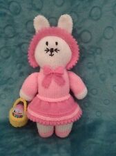 KNITTING PATTERN - Chloe the Easter bunny rabbit with egg basket 35 cms doll