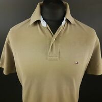 Tommy Hilfiger Mens Polo Shirt MEDIUM Short Sleeve Beige Regular Cotton