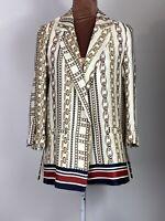 River Island Designers Casual Retro Boho Elegant Blazer Jacket Tie Up Size 8