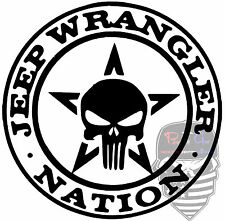 JEEP Wrangler Nation,Punisher Skull,Jeep life,JeepMafia,Jeeper,4x4,Vinyl Decal