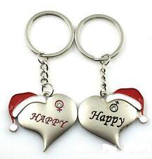 FD1084 Christmas Red Hat Lover Keychain Keyring Keyfob Key Ring  ~1 Pair 2pcs :)
