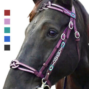 PU Weave Pattern Headstall Solid Color Bridle for Horse Fashion Bitless
