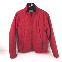LL Bean quilted medium weight winter jacket nylon polyester red misses jkt10