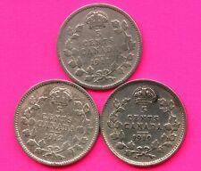 1911 1912 & 1919 Canada 5 Cent Silver Coins (1.17 Grams .925 Silver Each)