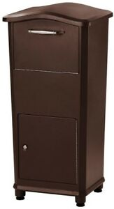 Parcel Drop Box Cast Aluminum Post Mount Type in Oil-Rubbed Bronze with Anchors