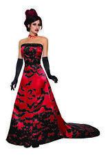 Elegant Red Vampire Queen Halloween Costume Womens Black Bats Gothic Fancy Dress