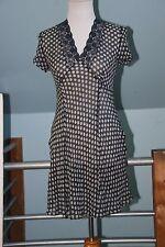 Susie Tompkins Petite Silk Sheer Cap Sleeve Swing Dress - Navy Blue & White - S