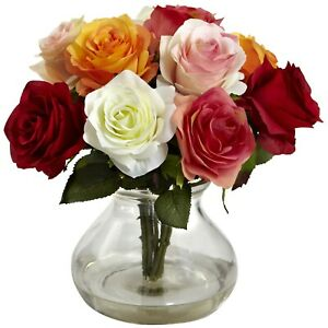 """Nearly Natural Artificial Roses Bouquet Flowers Floral With Glass Vase 11"""" NEW"""