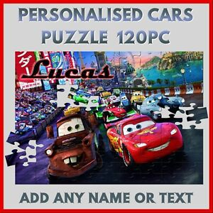 Personalised Cars Puzzle - 120pc Jigsaw - Name Gift, Kids Birthday or Christmas