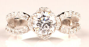 14KT White Gold & 1.70 Carat D-Color Round Shape Solitaire Women's Wedding Ring