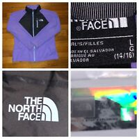 The North Face Girl's Purple And Black Full Zip Lightweight Fleece Jacket Large