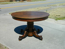 46 Inch Round Oak Dining Table Paw Feet circa 1900