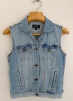 LUCKY BRAND Tomboy Trucker Women Denim Vest Sz S Jean Jacket Button Front Blue