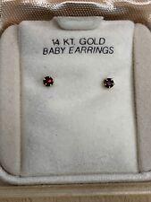 Vintage Solid 14K Yellow Gold Baby Earrings Garnet Post Earrings