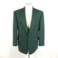 Vintage Commander Tweed Sakko Herren Gr. 52 Grün Lederknöpfe Jacke