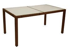 Gartentisch Glastisch Gartenmöbel Tisch Rattan MONTREUX 150x90cm, Geflecht braun