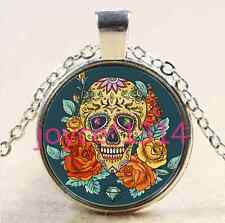 Sugar Flower Skull Cabochon Tibetan silver Glass Chain Pendant Necklace #2485