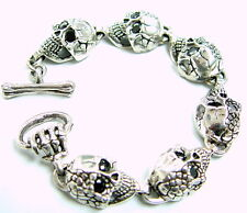 Men's Silver Skull Bracelet With Black  Diamonds by Sacred Angels
