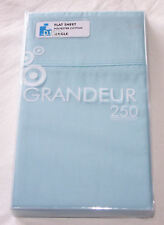 Grandeur Delph Blue Single Bed 250 Thread Count Flat Sheet New