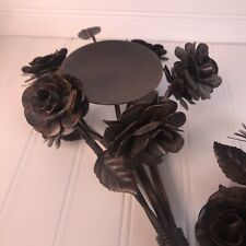 (Set Of 2) Metal Flower Bouquets Centerpiece Candle Holder Detailed Farmhouse
