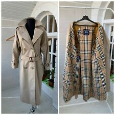Women's Burberry Vintage Check Beige Double Breasted Trench Coat Sz 6 Petite