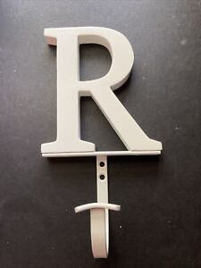 """Pottery Barn Kids Wall Mount Hook 5"""" Letter R  8"""" Total Height NO Screws"""