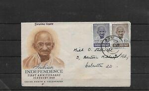 India Indien 1948 Gandhi FDC Puri to Calcutta